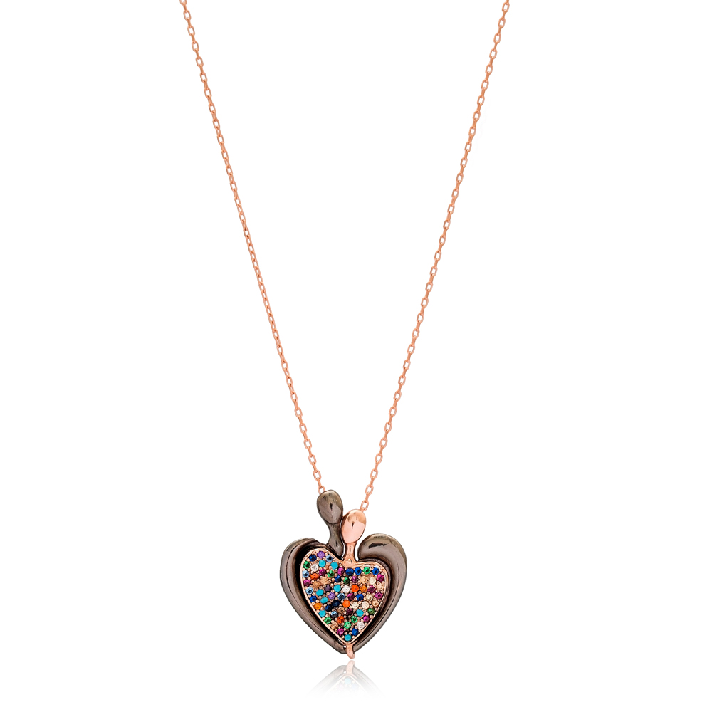Colorful Stone Opening Heart Charm Pendant Wholesale Handmade Turkish 925 Silver Sterling Jewelry