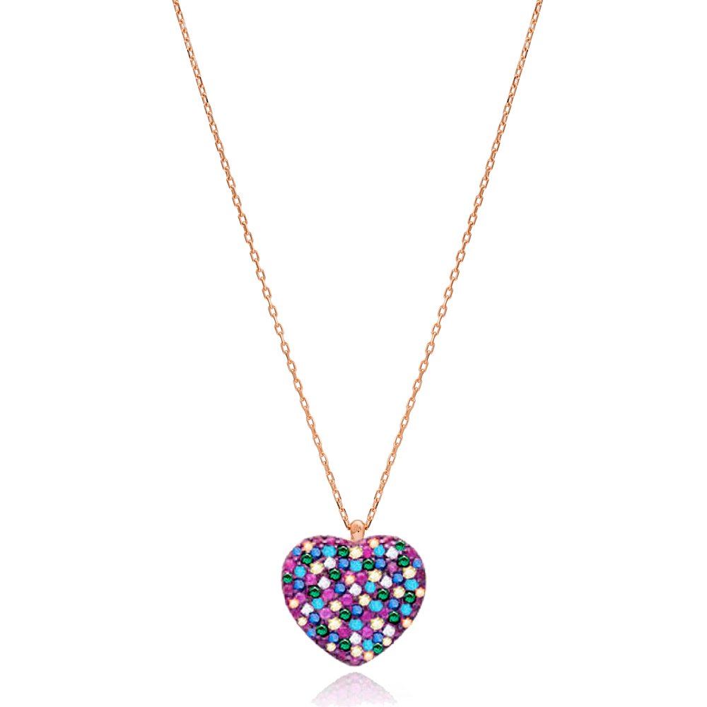 Mix Stone Heart Pendant In Turkish Wholesale 925 Sterling Silver
