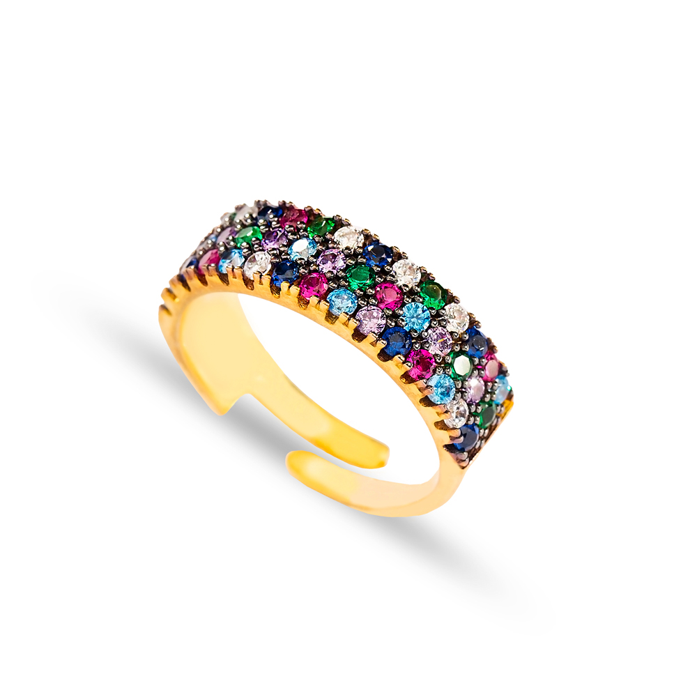 Mix Stone Fashionable Design Adjustable Ring Turkish Wholesale Handcrafted 925 Silver Jewelry