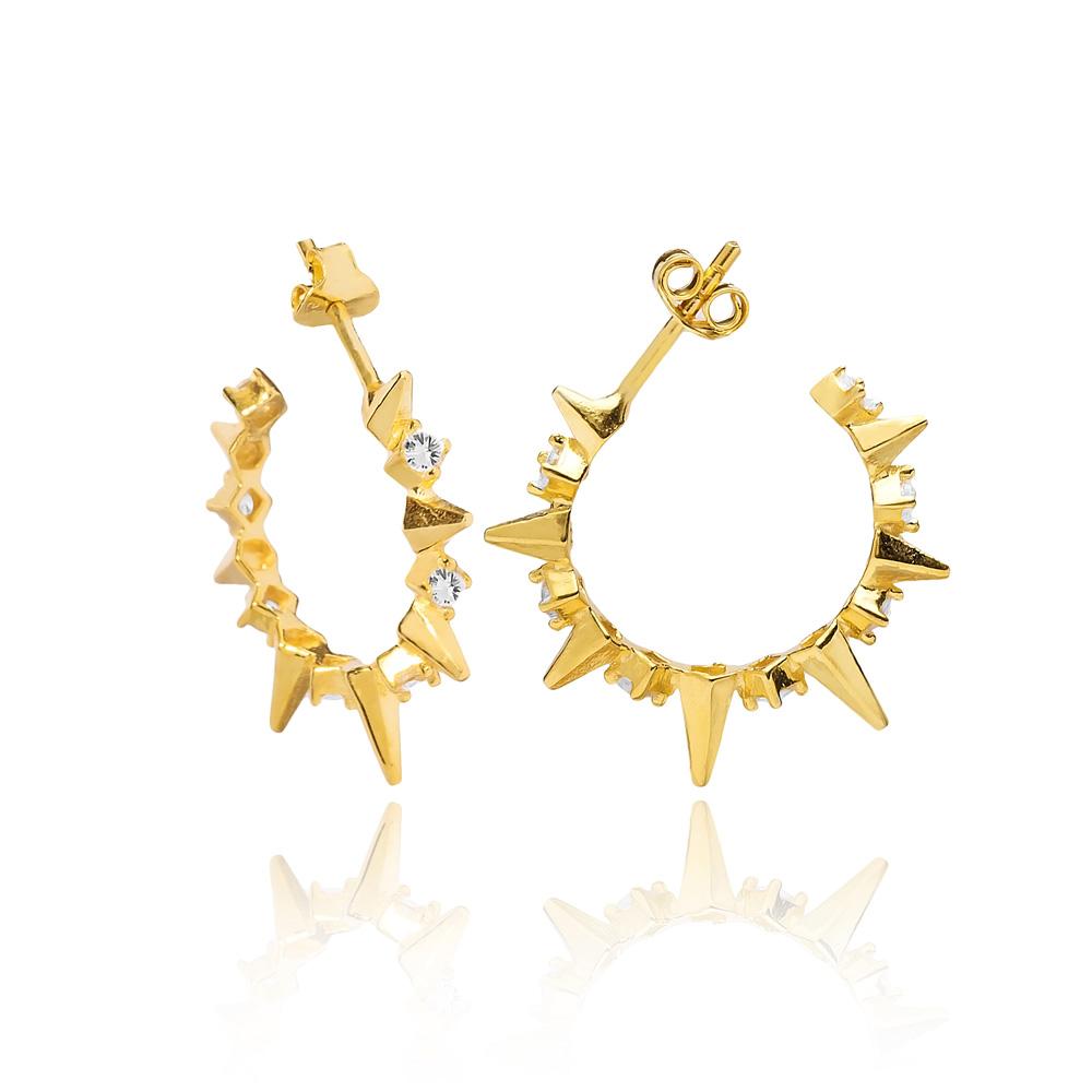 Point Design Hoop Earring Turkish Wholesale Handmade 925 Sterling Silver Jewelry