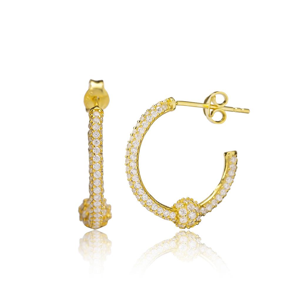 Push Back Hoop Earring Turkish Wholesale Handmade 925 Sterling Silver Jewelry