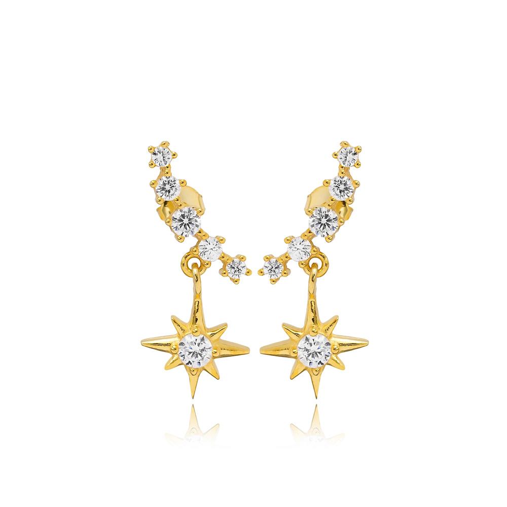 Push Back Star Charm Earring Turkish Wholesale Handmade 925 Sterling Silver Jewelry
