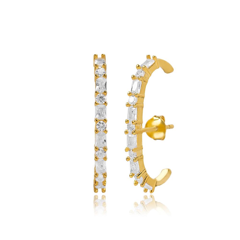 Push Back Earring Turkish Wholesale Handmade 925 Sterling Silver Jewelry