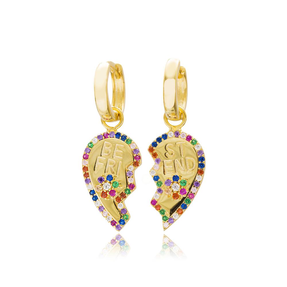 Heart Best Friend Design Dangle Earrings Turkish Wholesale 925 Sterling Silver Jewelry