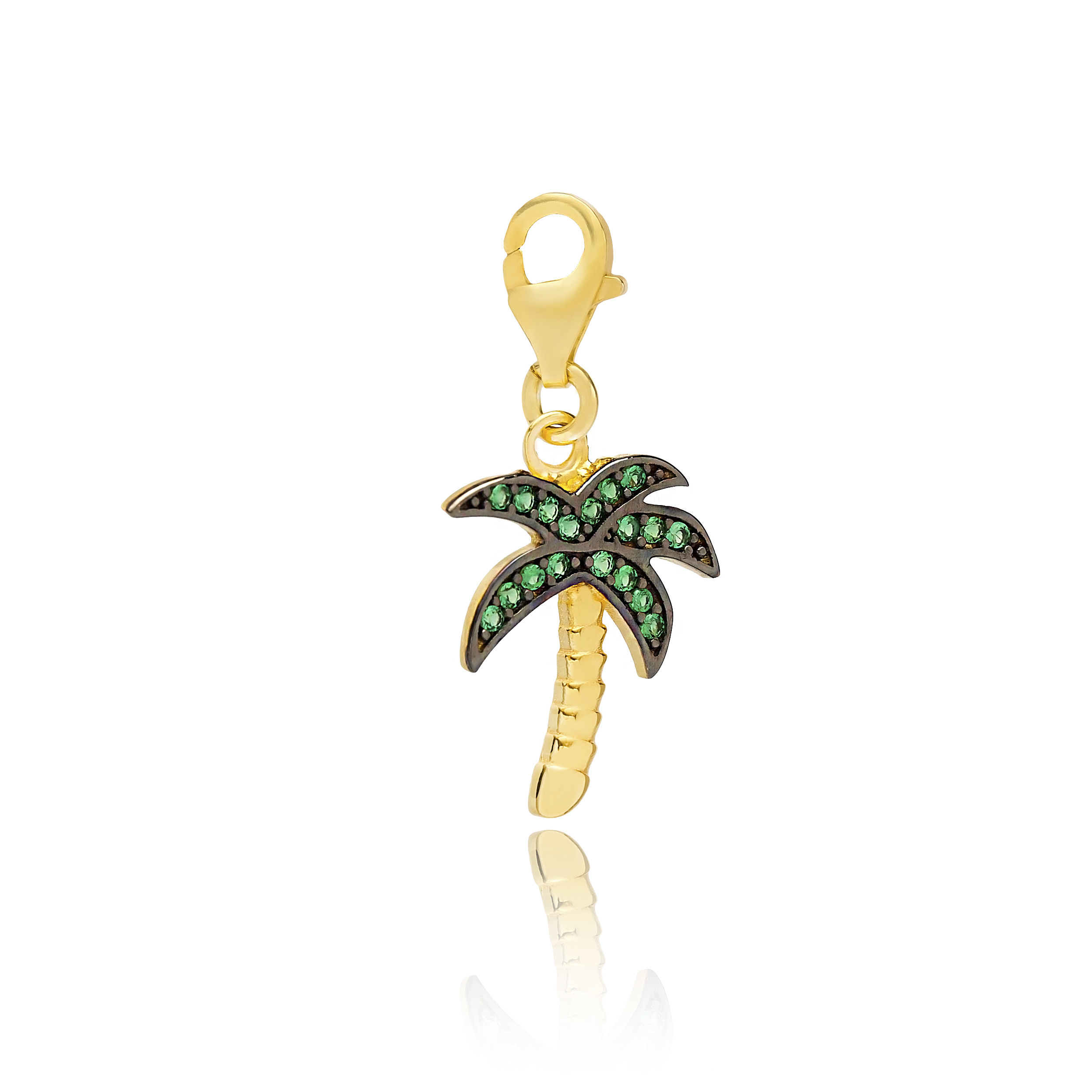 Palm Tree Green Charm Pendant Turkish Wholesale 925 Sterling Silver Jewelry