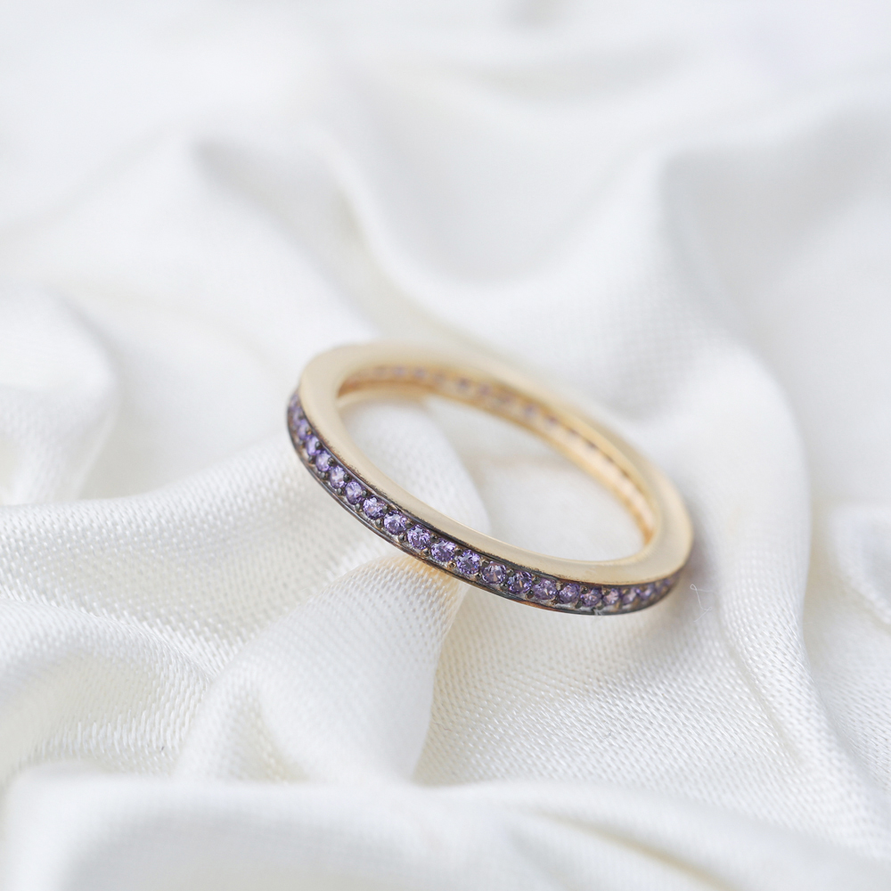 Tender Micro Purple Zircon Band Ring Wholesale Handcrafted Silver Jewelry