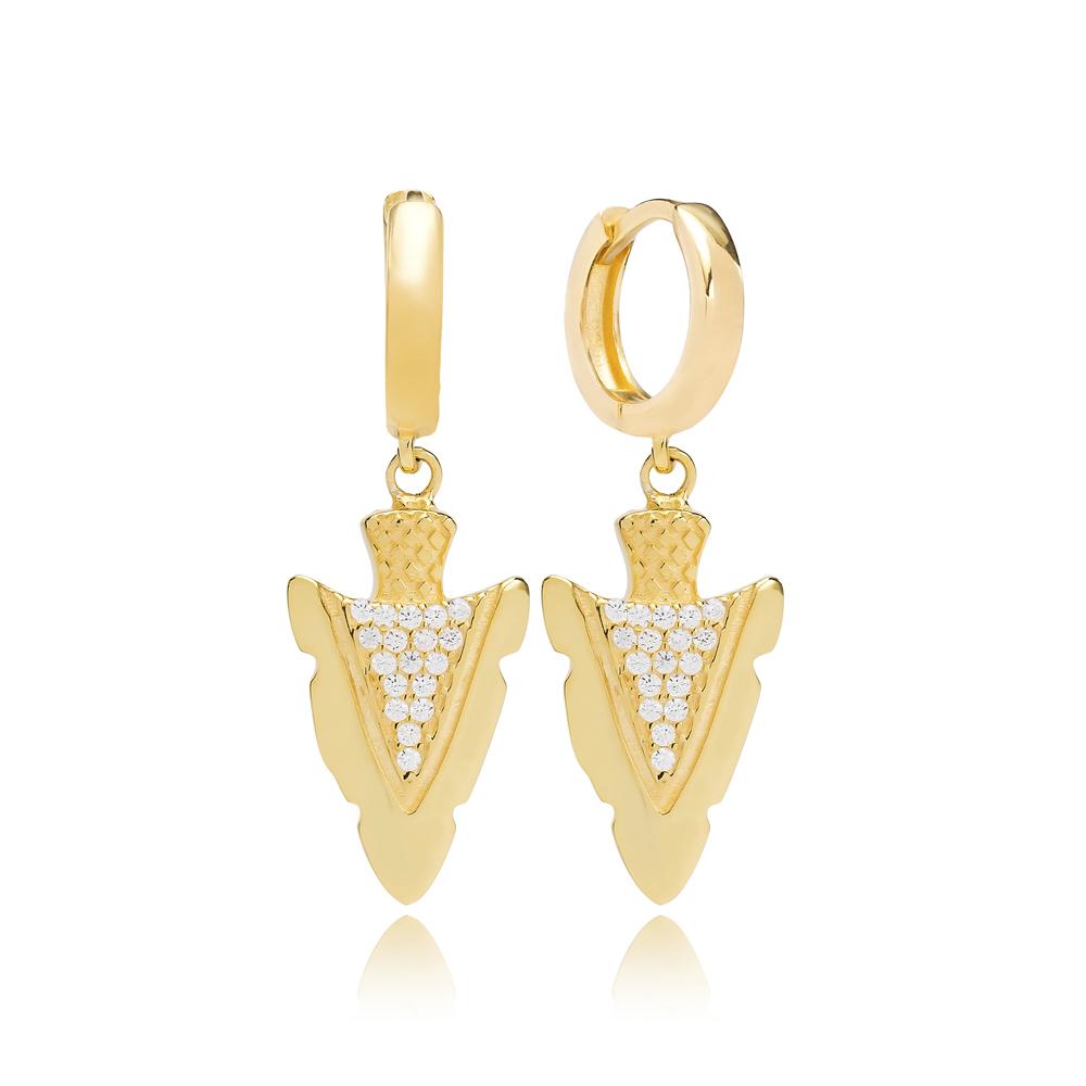 Elegant Arrowhead Shape Turkish Wholesale Handmade 925 Sterling Silver Dangle Earrings