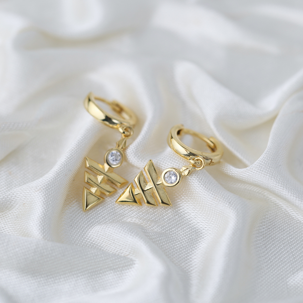 Chic Arrowhead Shape Turkish Wholesale Handmade 925 Sterling Silver Dangle Earrings