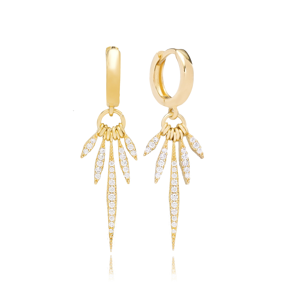 Point Shape With Zircon Stones Dangle Earring Turkish Wholesale 925 Sterling Silver Jewelry