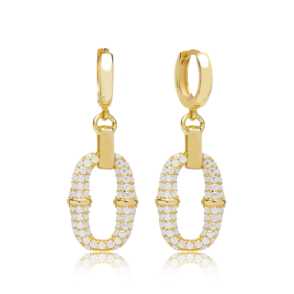 Zircon Stone Irresistible Charm Earring Turkish Wholesale Handmade 925 Sterling Silver Jewelry