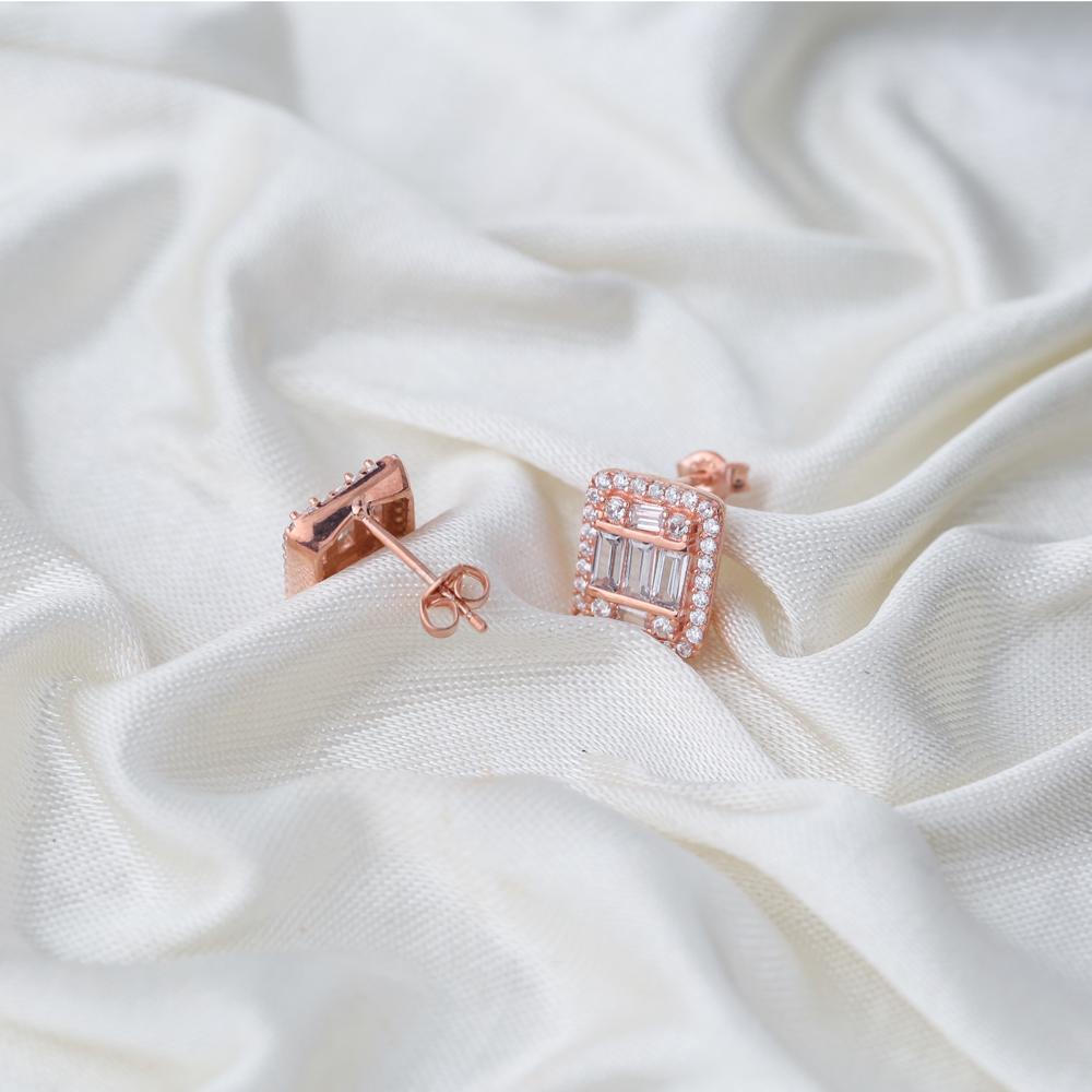 Elegant Design Baguette Stone Stud Earrings Wholesale Turkish Sterling Silver Jewelry