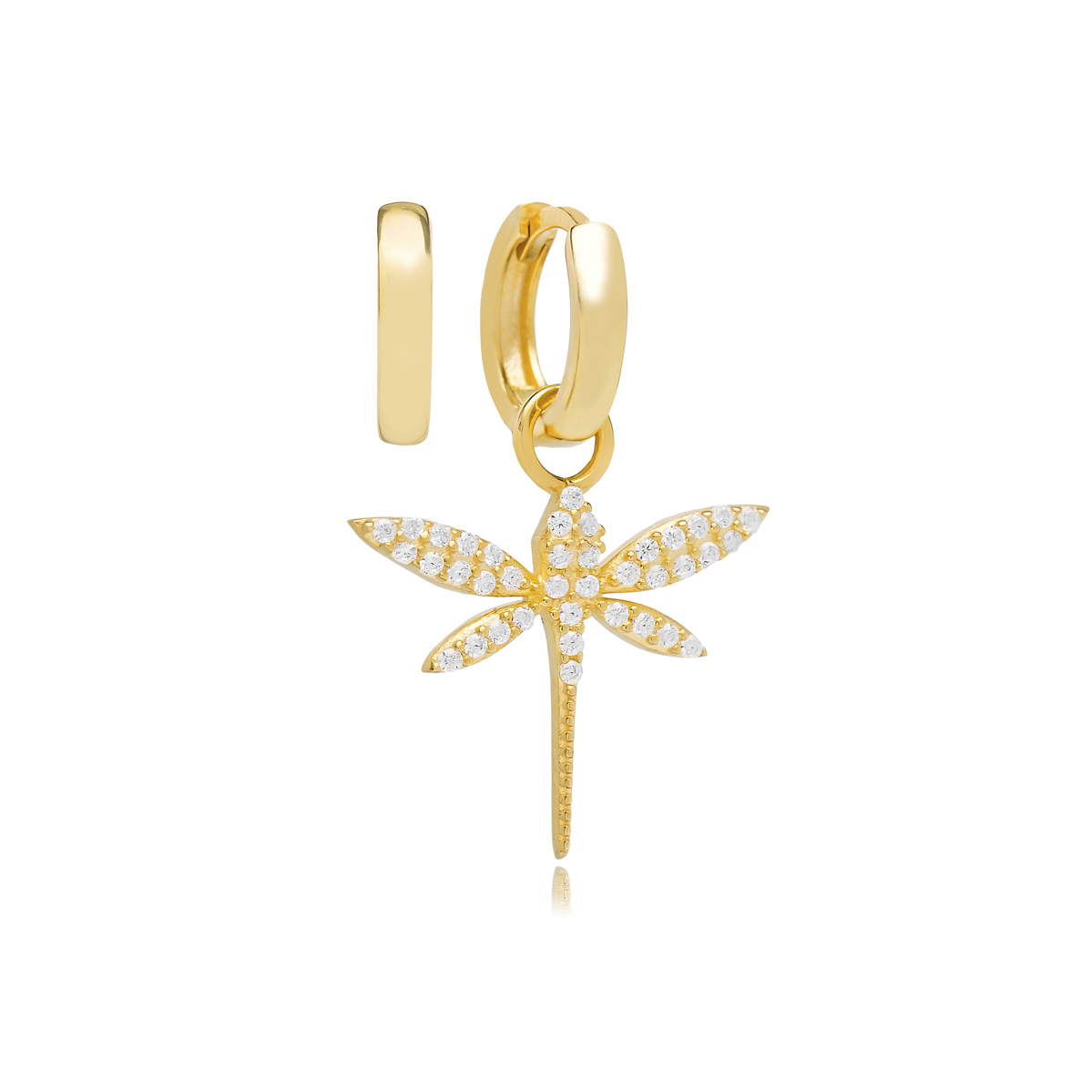 Dragonfly Zircon Stone Design Turkish Wholesale Handmade 925 Silver Charm Earring