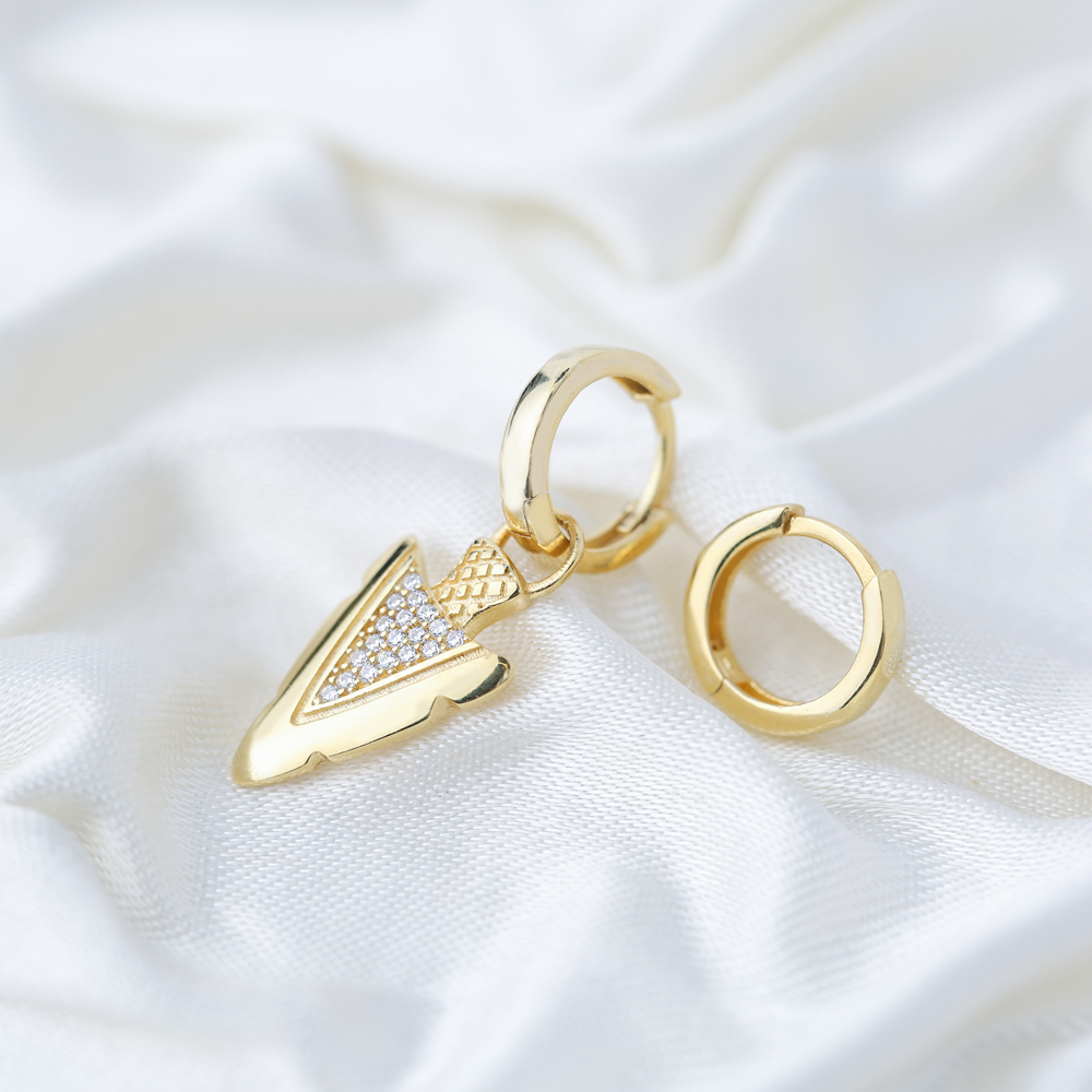 Arrowhead Zircon Stone Design Turkish Wholesale Handmade 925 Silver Charm Earring