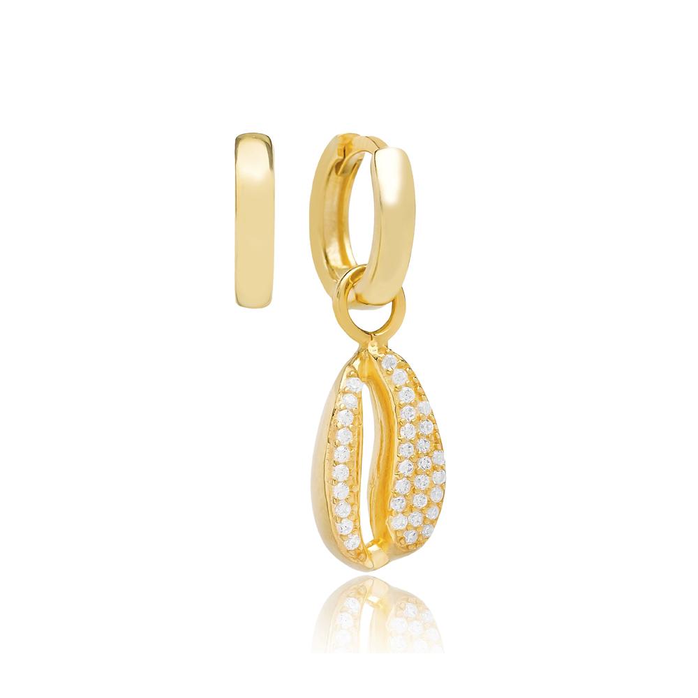 Seashell Design Zircon Stone Turkish Wholesale Handmade 925 Silver Charm Earring
