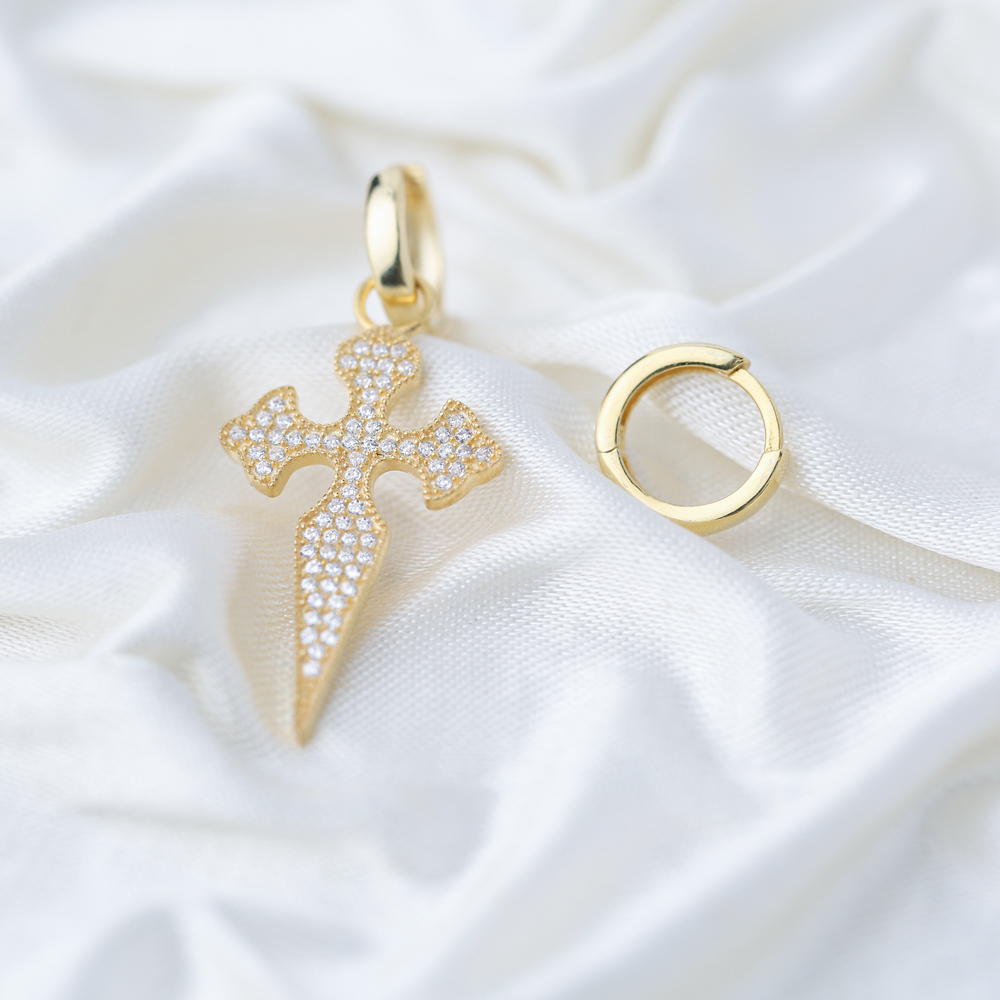 Cross Design Zircon Stone Turkish Wholesale Handmade 925 Silver Charm Earring