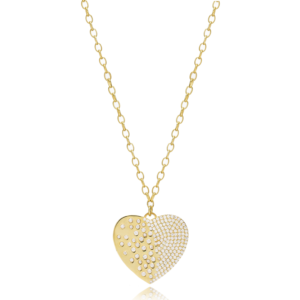 Sophisticated Heart Design Pendant Turkish Wholesale Handmade 925 Sterling Silver Jewelry