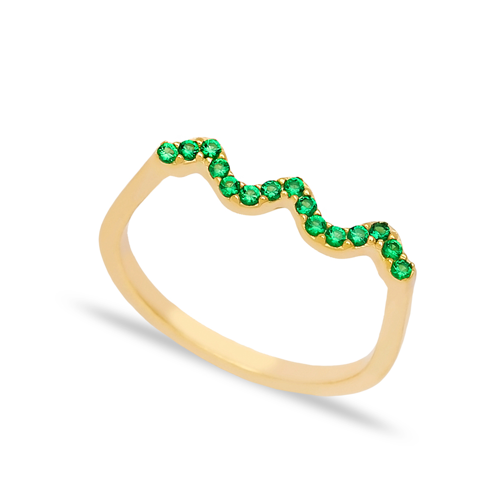 Wave Style Emerald Stone Beaded Ring Wholesale Turkish Handcrafted 925 Sterling Silver Jewelry