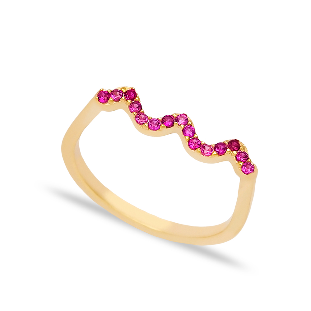 Wave Style Ruby Stone Beaded Ring Wholesale Turkish Handcrafted 925 Sterling Silver Jewelry