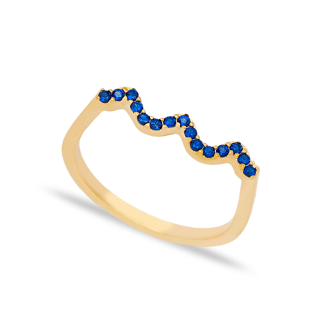 Wave Style Sapphire Stone Beaded Ring Wholesale Turkish Handcrafted 925 Sterling Silver Jewelry