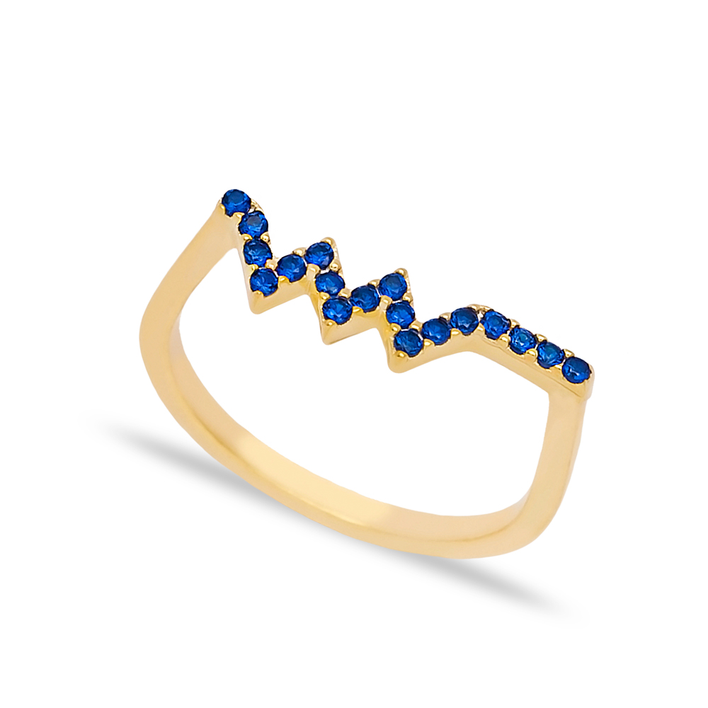 Zigzag Sapphire Stone Beaded Ring Wholesale Turkish Handcrafted 925 Sterling Silver Jewelry