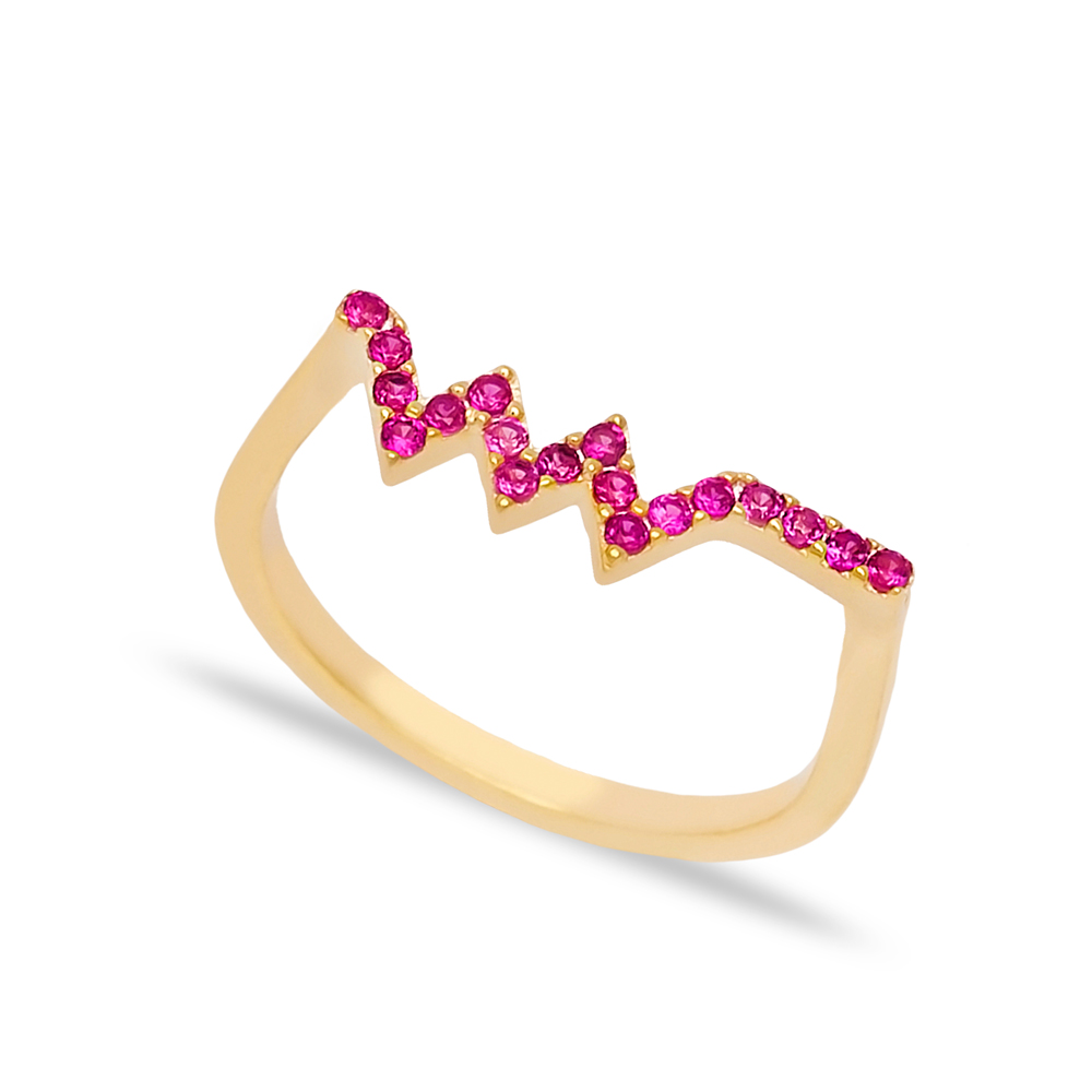Zigzag Ruby Stone Beaded Ring Wholesale Turkish Handcrafted 925 Sterling Silver Jewelry