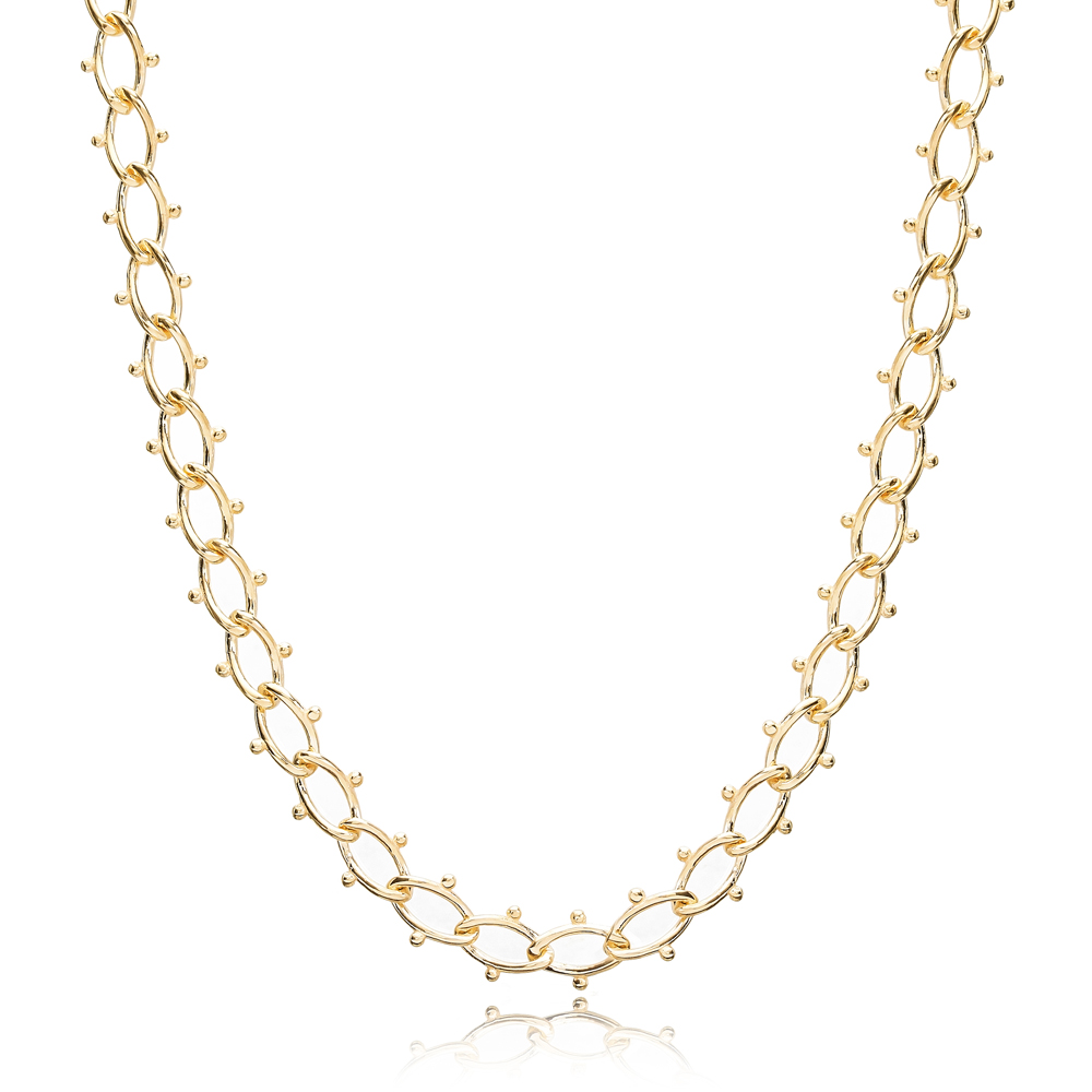 Unique Design Cable Chain Choker Necklace Turkish Handmade 925 Sterling Silver Jewelry