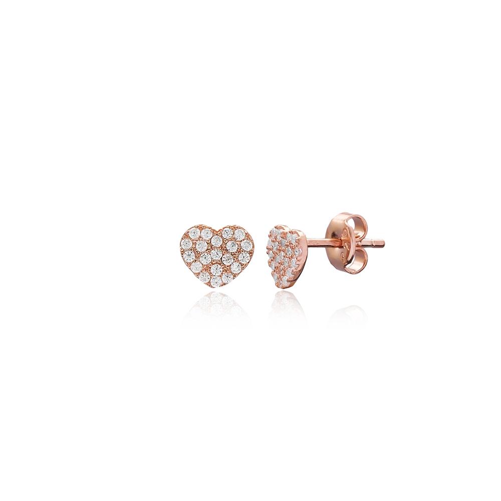 Simple Heart Earring Turkish Wholesale Handmade 925 Sterling Silver Jewelry