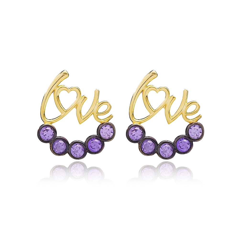 Amethyst Stone Love Letter Design Earring Handmade Turkish Wholesale 925 Sterling Silver Jewelry