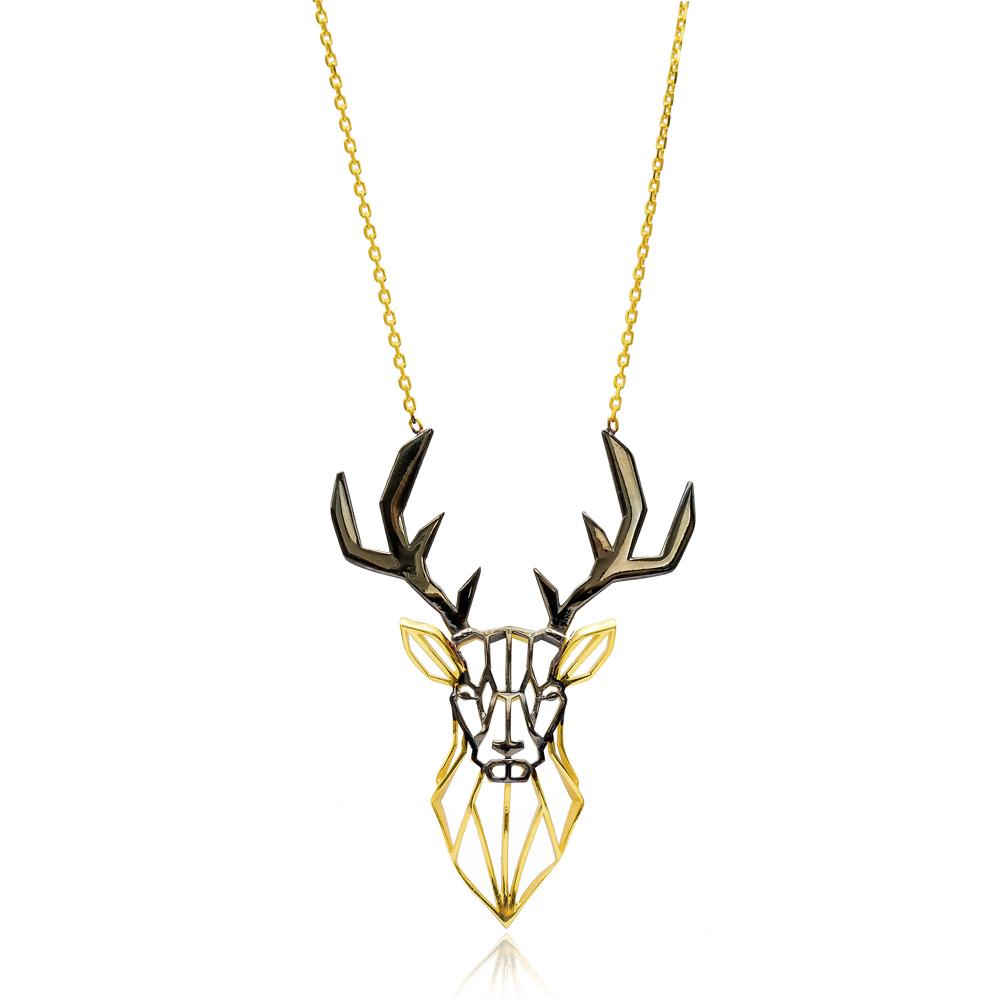 Origami Reindeer Minimalist Design Sterling Silver Pendant