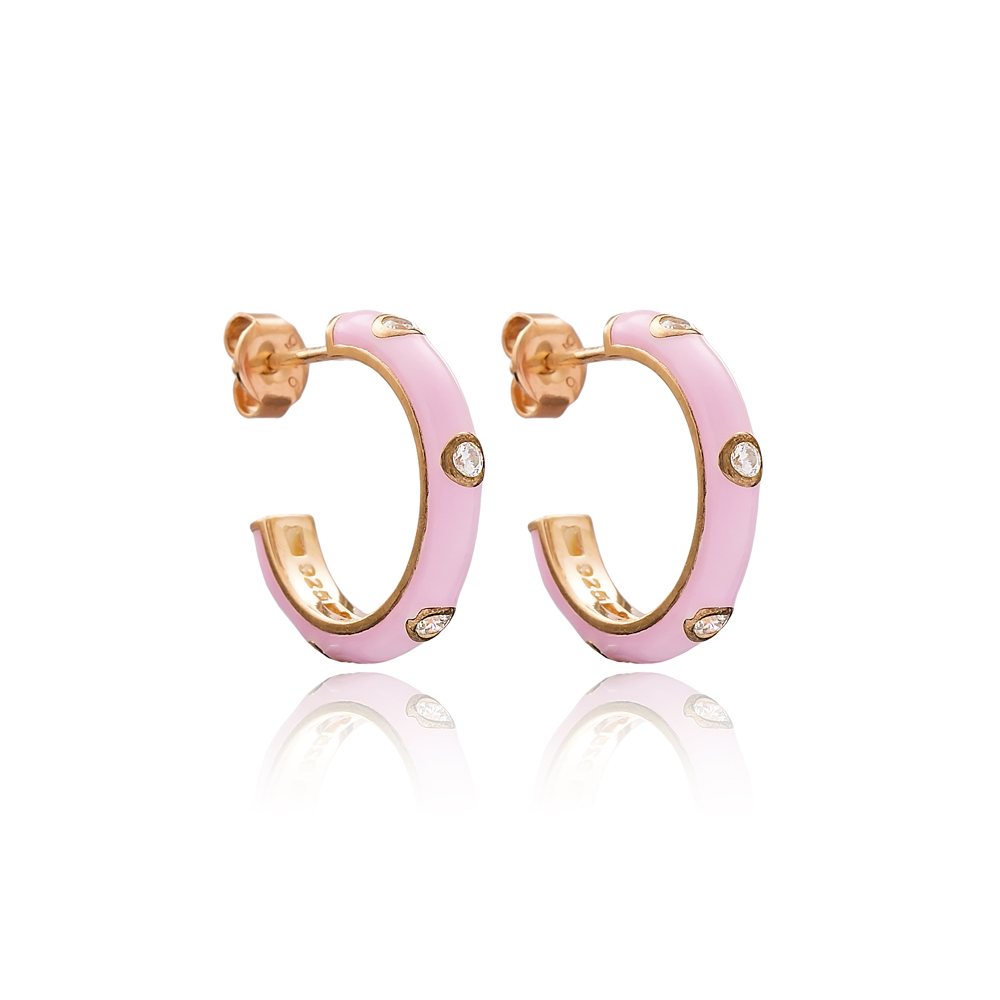 Zircon Stone Pink Enamel Round Design Stud Earrings Turkish Handmade Wholesale 925 Sterling Silver Jewelry