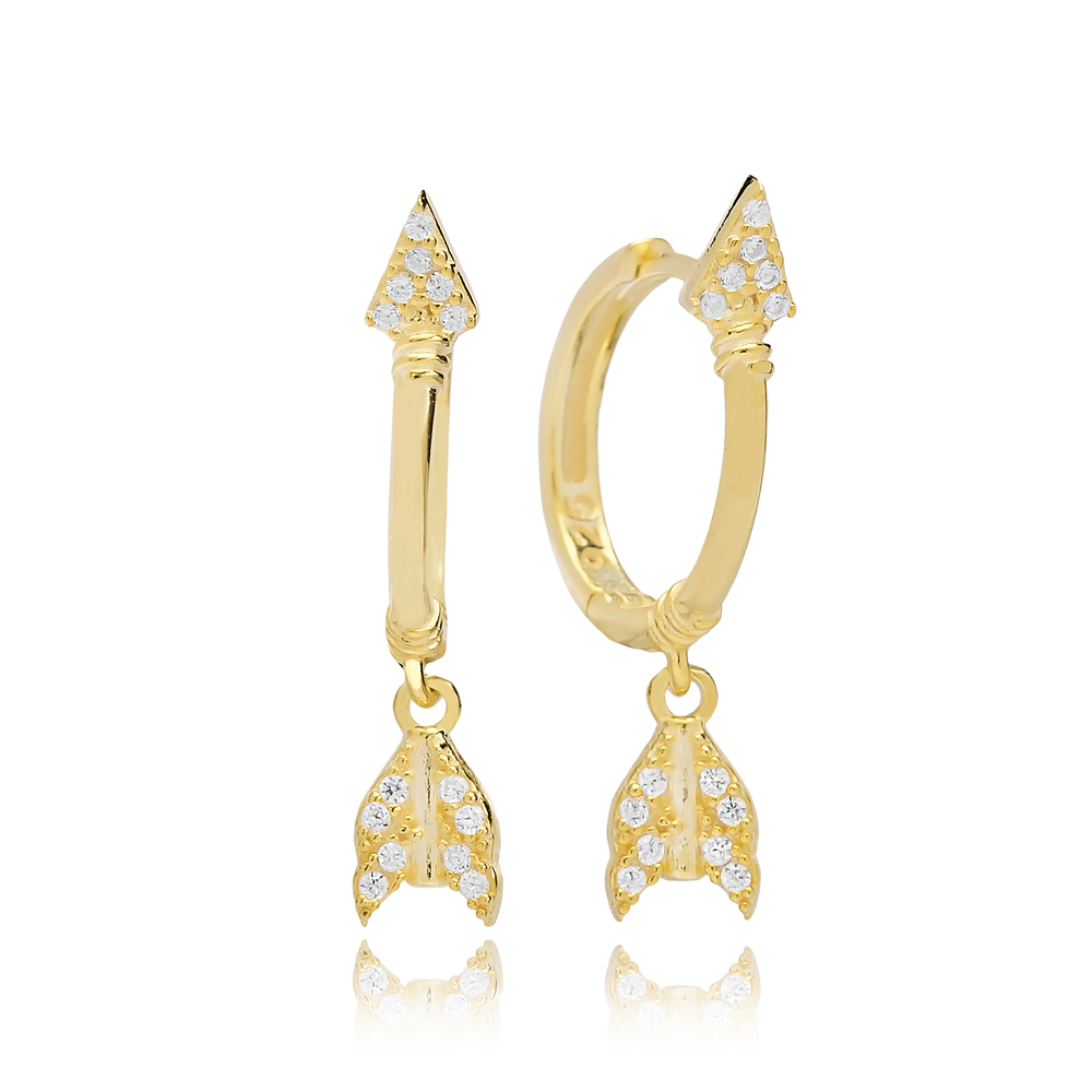 Stylish Arrow Design Zircon Stone Dangle Earring Turkish Wholesale Handmade 925 Sterling Silver Jewelry