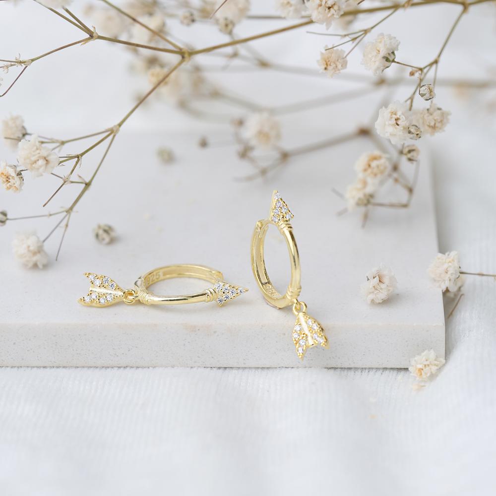 Stylish Arrow Design Zircon Stone Dangle Earring Turkish Wholesale Handmade 925 Sterling Silver Jewelry