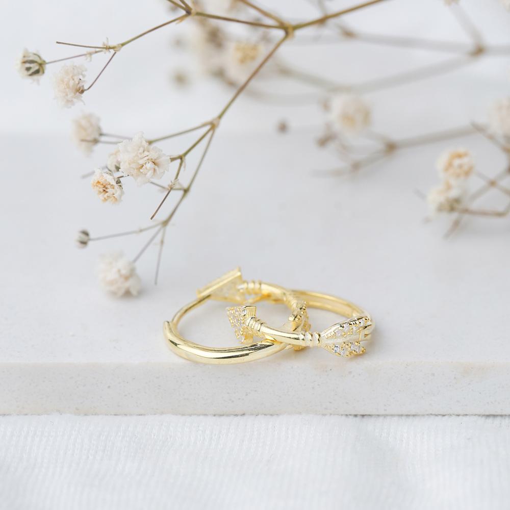 Ø19 mm Sized Arrow Design Zircon Stone Hoop Earrings Wholesale Turkish Handmade 925 Sterling Silver Jewelry