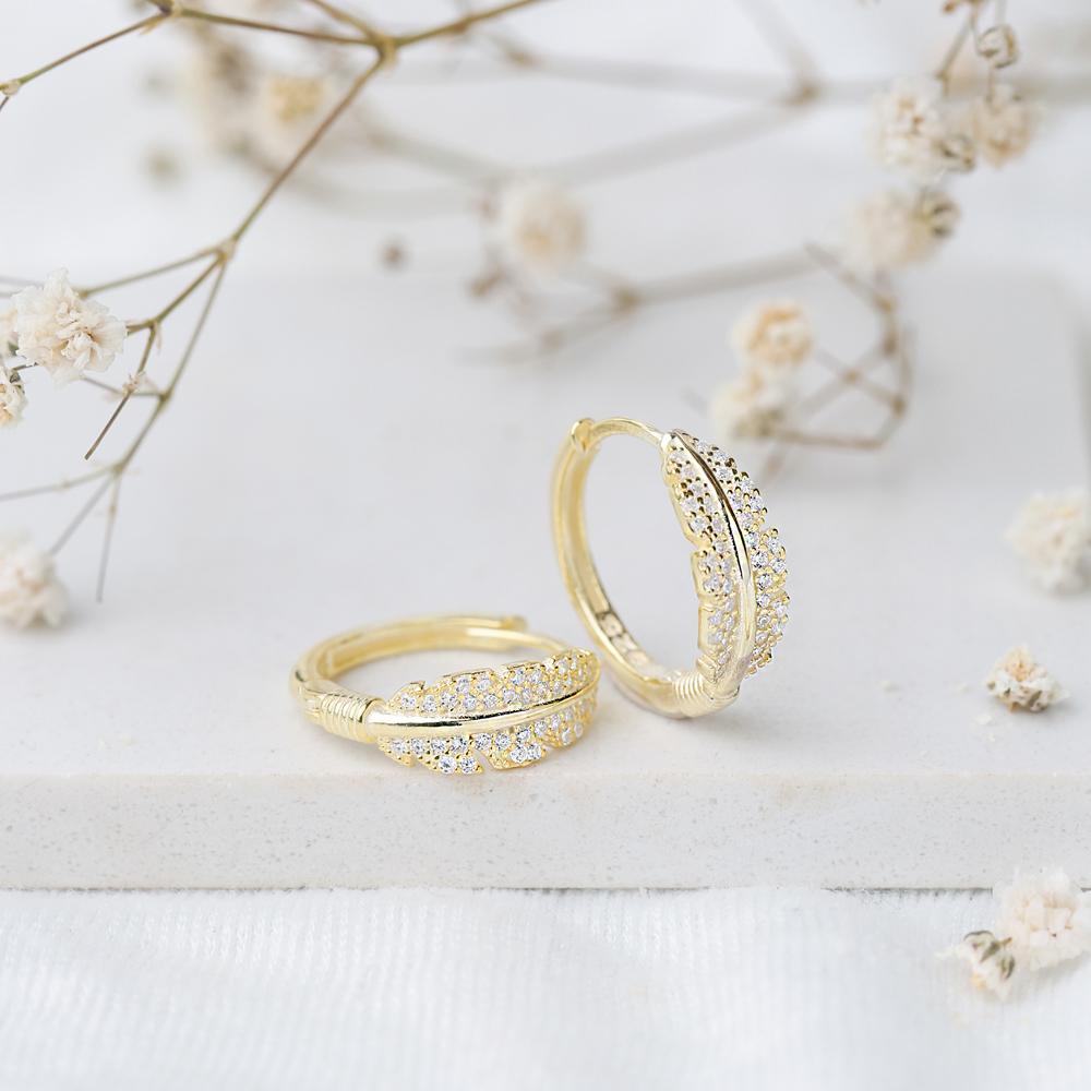 Ø19 mm Sized Leaf Design Zircon Stone Hoop Earrings Wholesale Turkish Handmade 925 Sterling Silver Jewelry