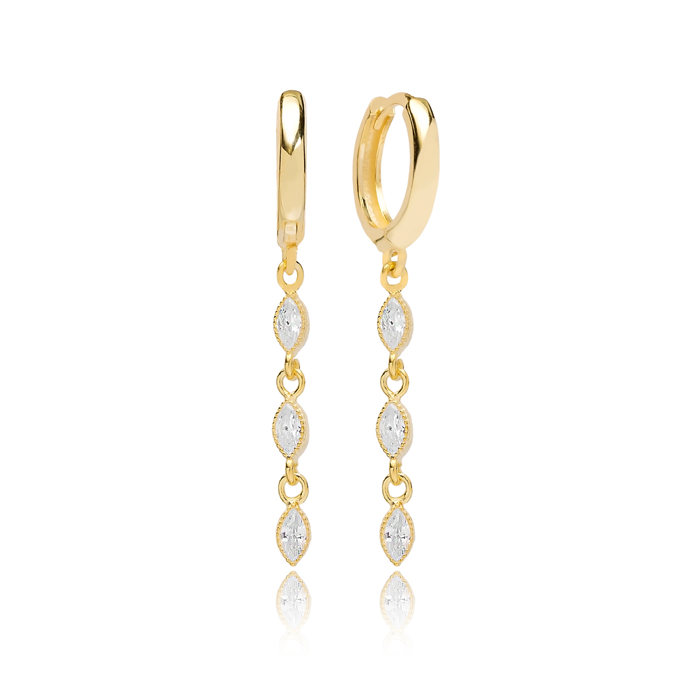 Trendy Drop Shape Zircon Dangle Earring Turkish Wholesale Handmade 925 Sterling Silver Jewelry