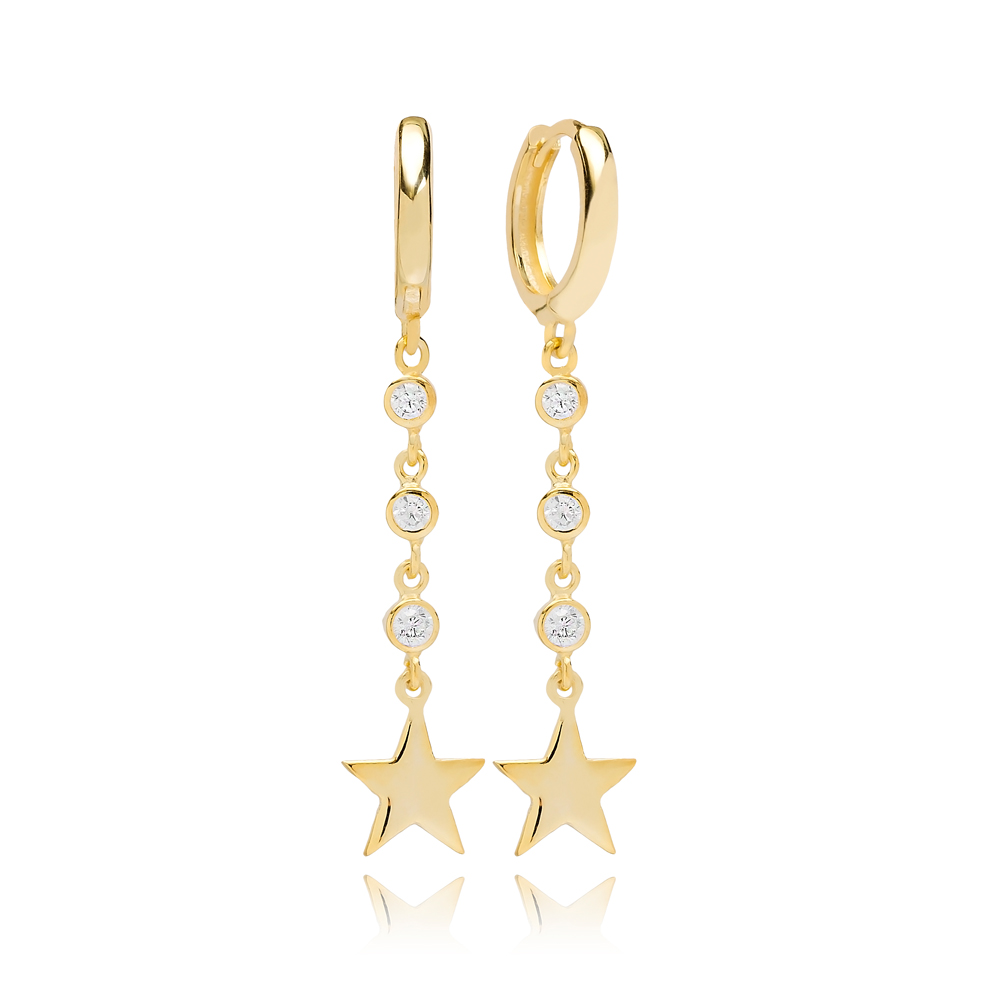 Gold Star Zircon Dangle Earring Turkish Wholesale Handmade 925 Sterling Silver Jewelry