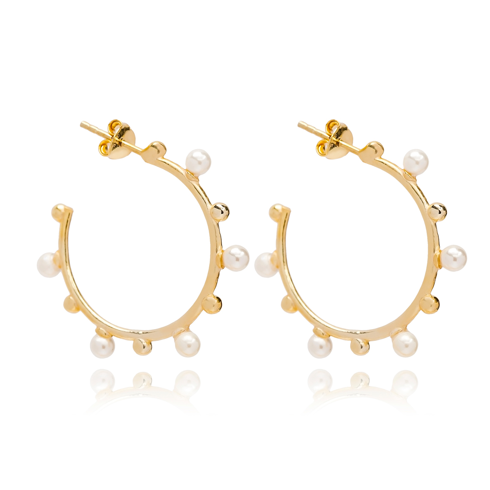 Push Back Pearl Hoop Earring Turkish Wholesale Handmade 925 Sterling Silver Jewelry