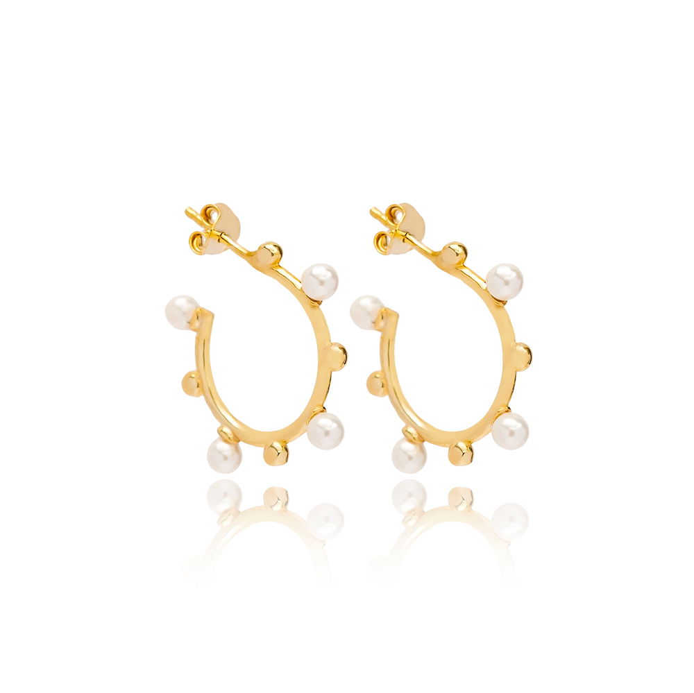Mini Push Back Pearl Hoop Earring Turkish Wholesale Handmade 925 Sterling Silver Jewelry