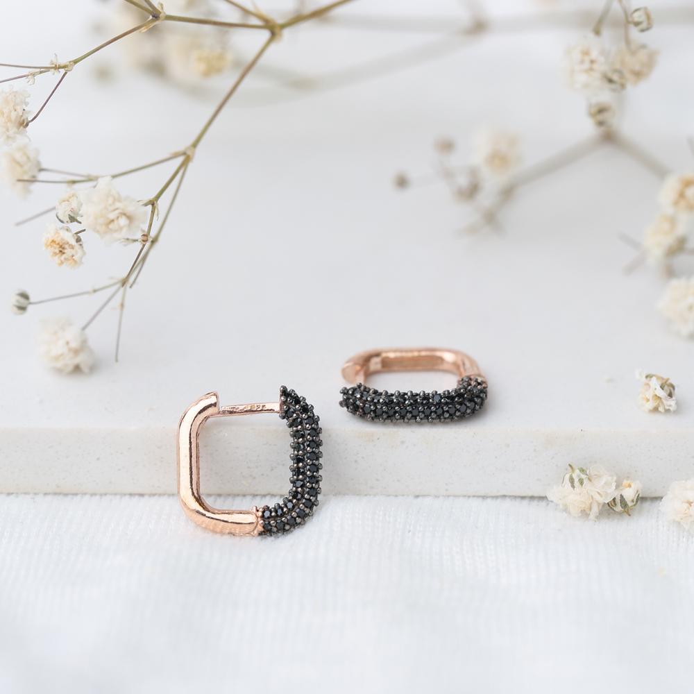 Trendy Square Black Zircon Earrings Wholesale Turkish Handmade 925 Sterling Silver Jewelry