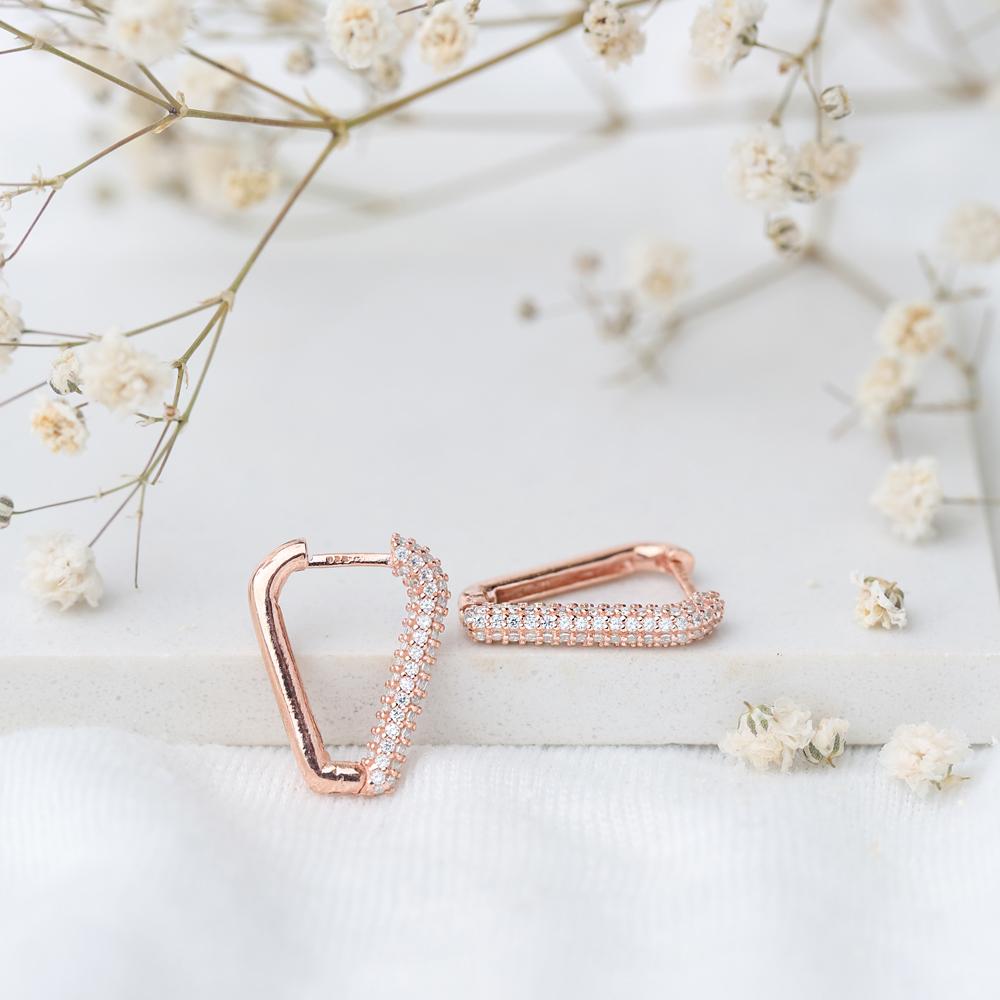 Nice Triangle Shape Zircon Earrings Wholesale Turkish Handmade 925 Sterling Silver Jewelry