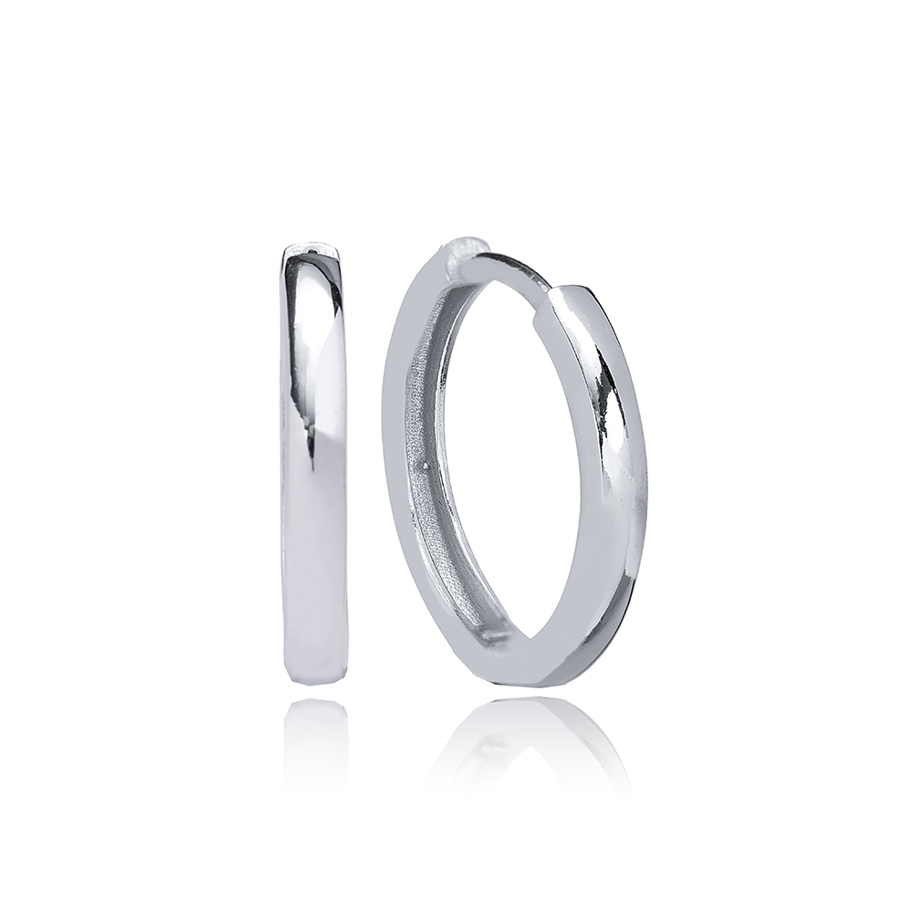 Simple Plain Design Ø21 mm Hoop Earrings Wholesale Turkish Handmade 925 Sterling Silver Jewelry