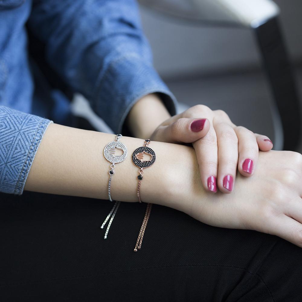 Hamsa Design Wholesale Handmade Turkish Adjustable Tennis Silver Bracelet