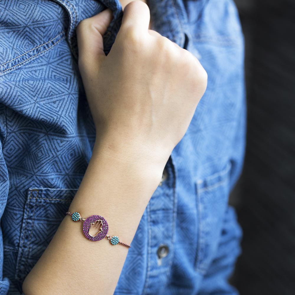 Wholesale Hamsa Design Handmade Turkish Adjustable Tennis Silver Bracelet