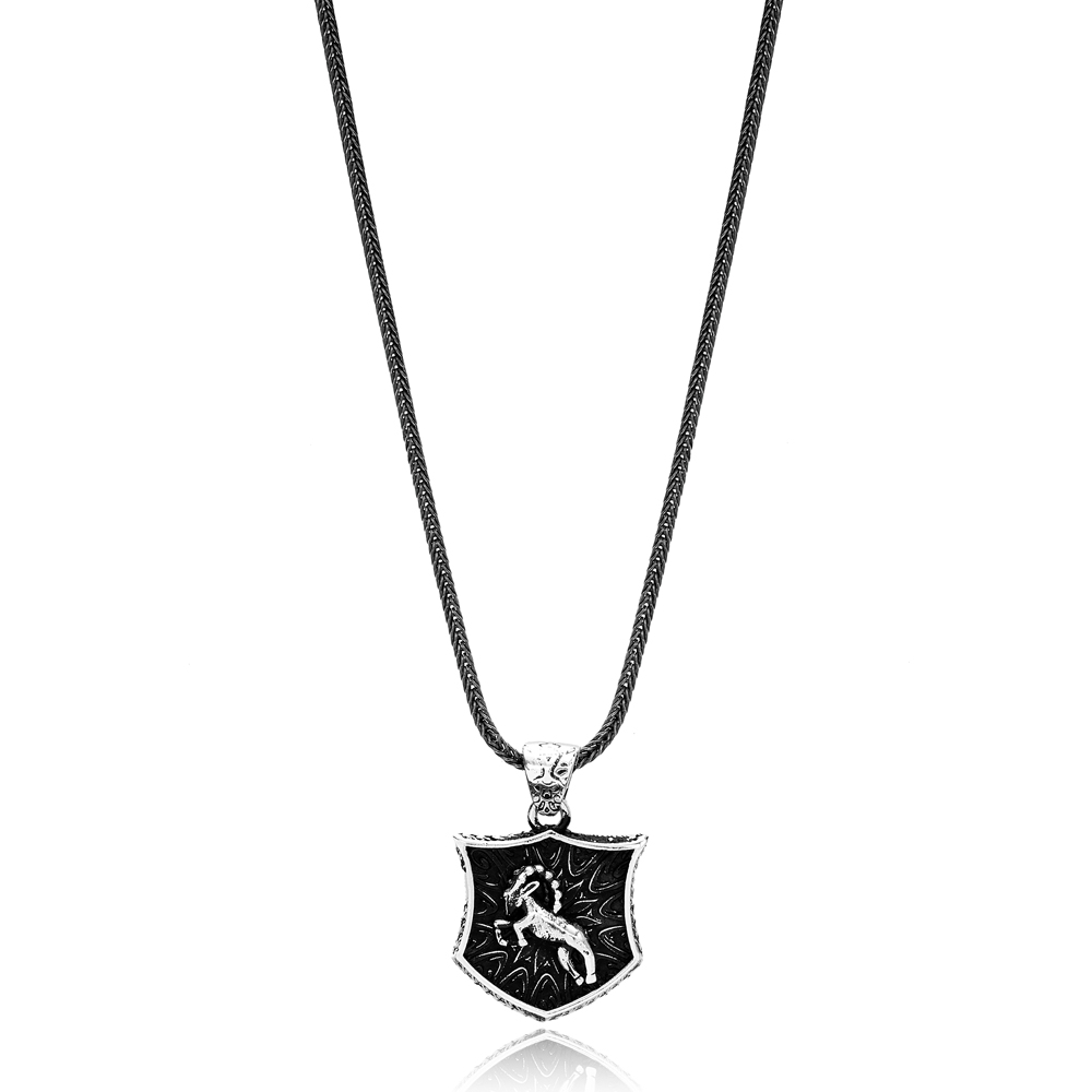 Capricorn Zodiac Сharm Men's Flat Curbed Chain Wholesale Handmade 925 Sterling Silver Men's Necklace