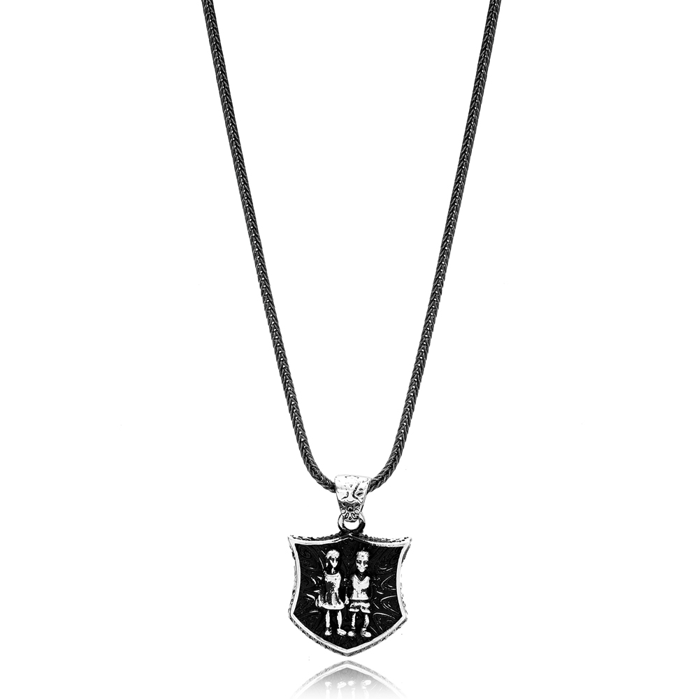 Gemini Zodiac Сharm Men's Flat Curbed Chain Wholesale Handmade 925 Sterling Silver Men's Necklace