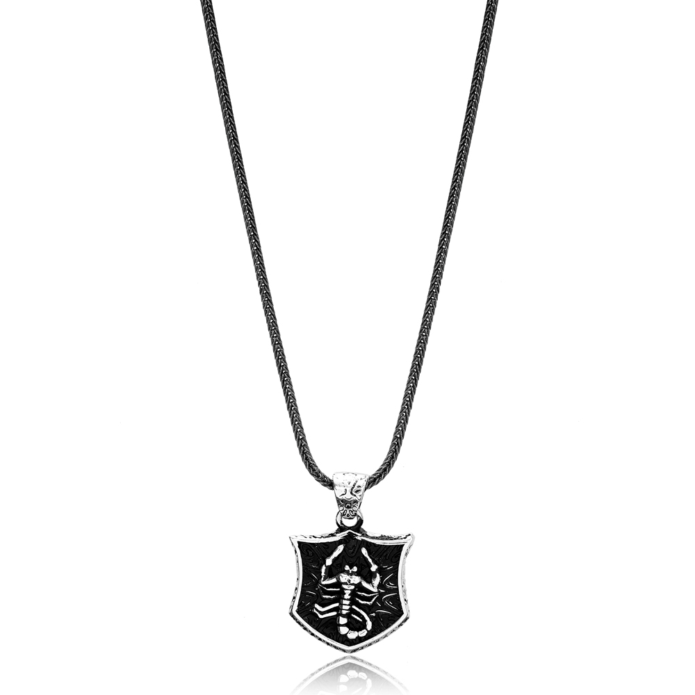 Scorpio Zodiac Charm Men's Flat Curbed Chain Wholesale Handmade 925 Sterling Silver Men's Necklace