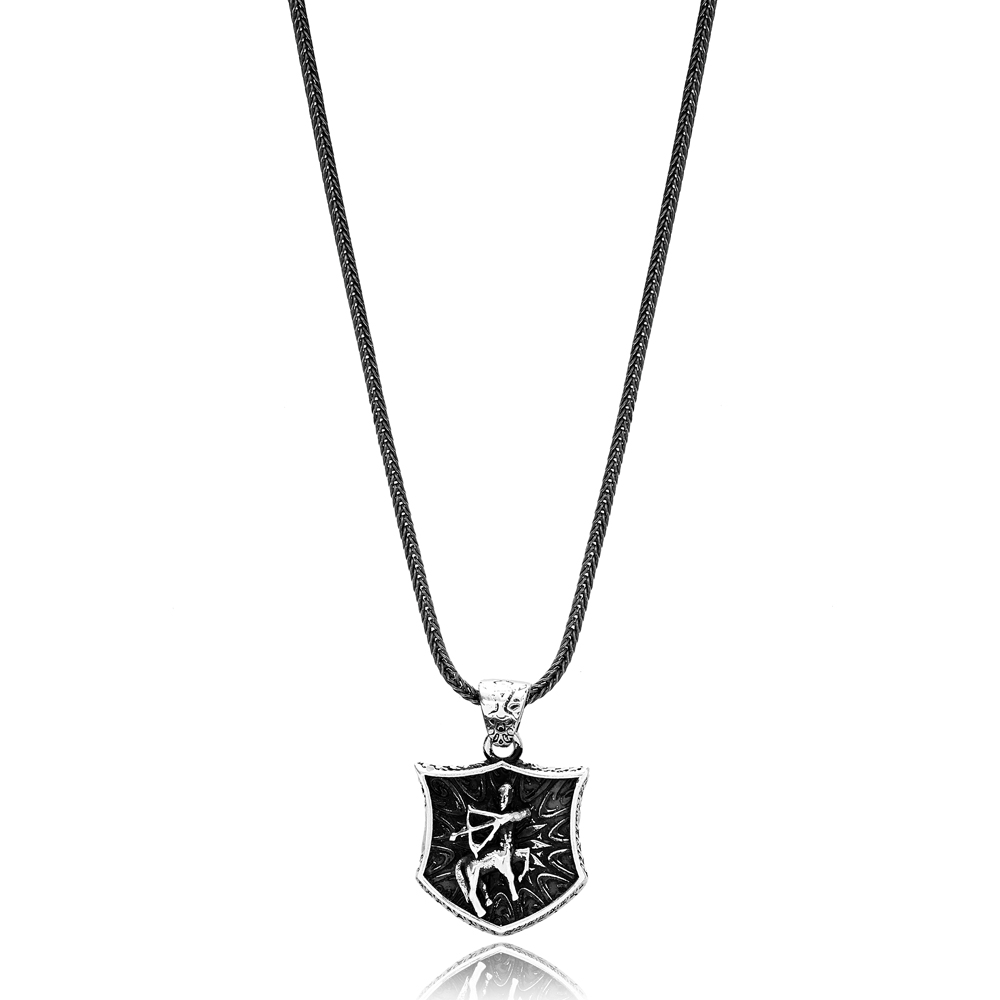 Sagittarius Zodiac Charm Men's Flat Curbed Chain Wholesale Handmade 925 Sterling Silver Men's Necklace
