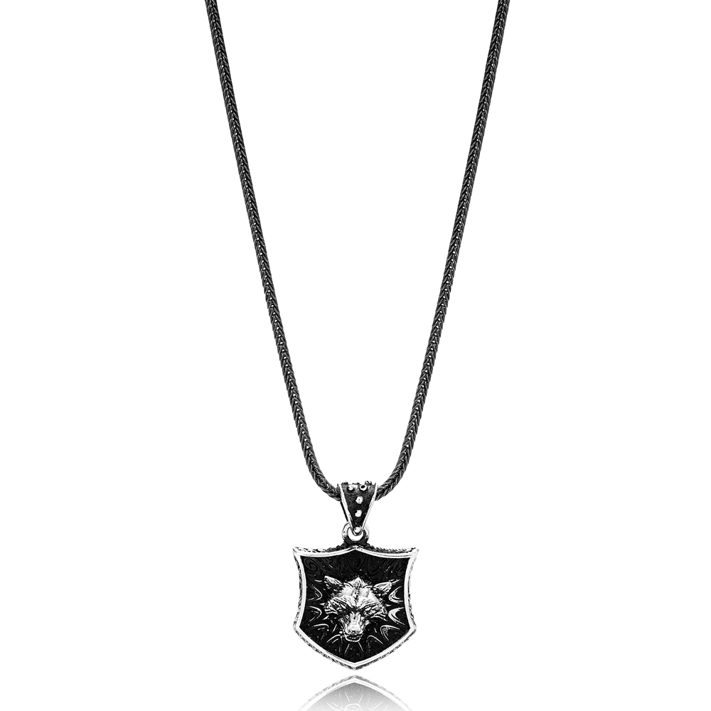 Lone Wolf Charm Men's Flat Curbed Chain Wholesale Handmade 925 Sterling Silver Men's Necklace