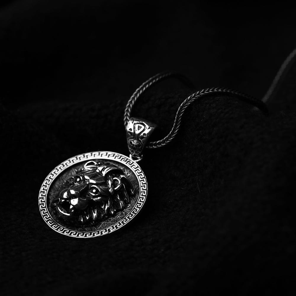 Fierce Lion Ø27 Charm Men's Flat Curbed Chain Wholesale Handmade 925 Sterling Silver Men's Necklace