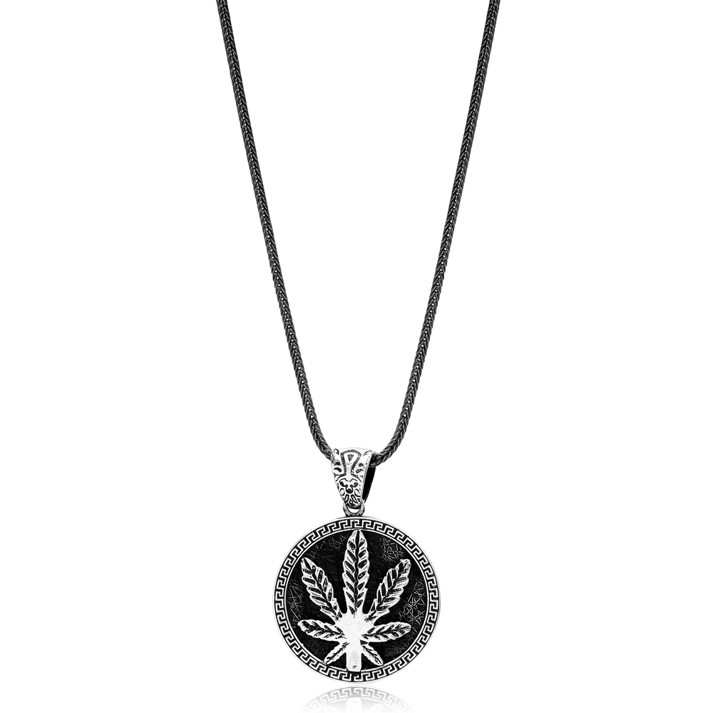 Cannabis Leaf Ø27 Charm Men's Flat Curbed Chain Wholesale Handmade 925 Sterling Silver Men's Necklace